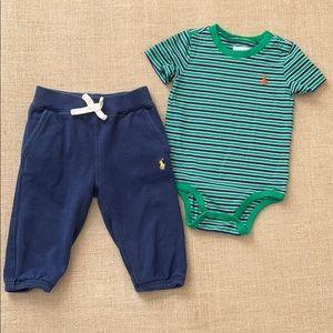 Ralph Lauren striped onesie and sweatpants